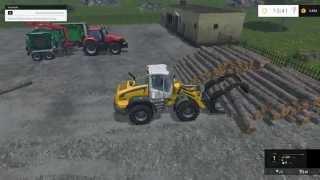 farming simulator 15 timber truck unload wheelloader