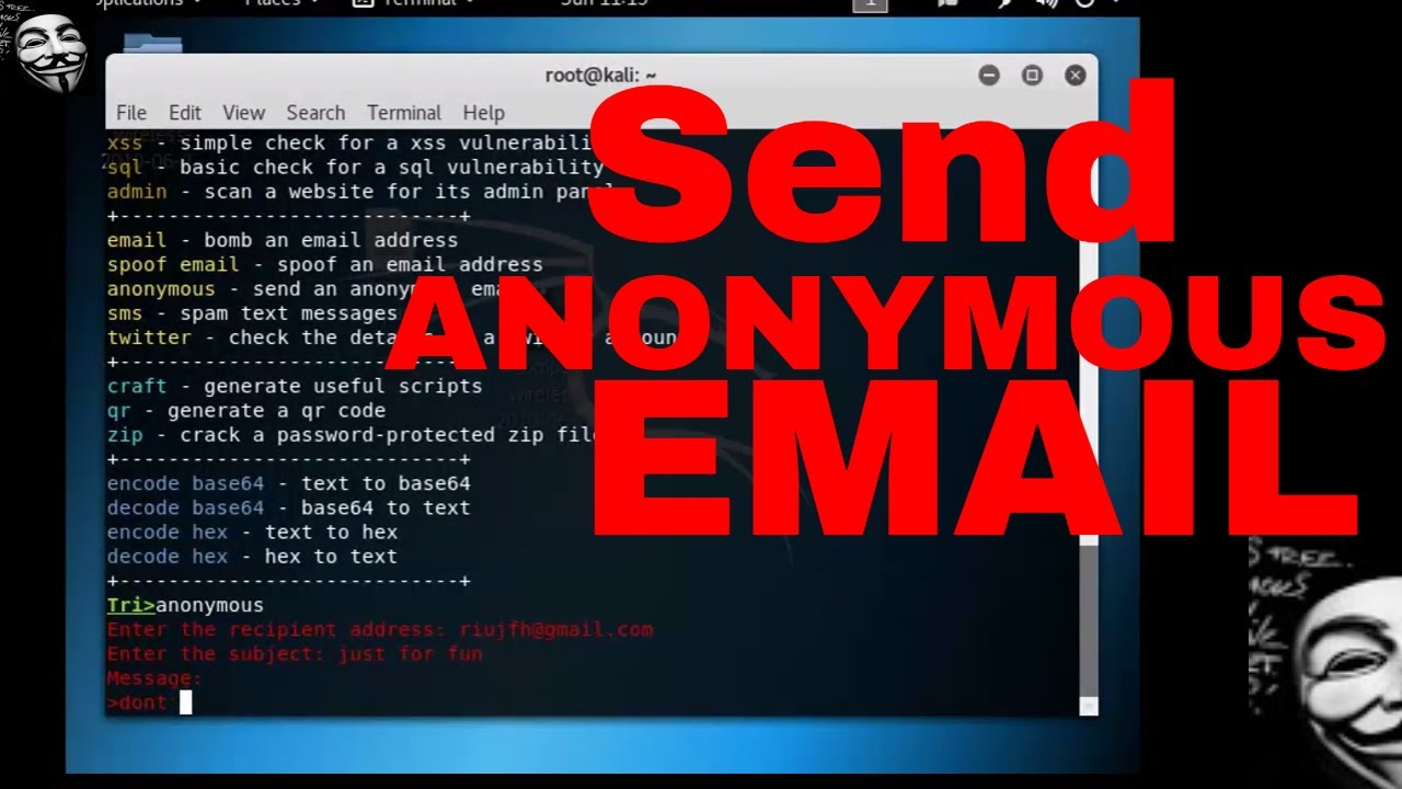 KaliLinux Awesome Tool- How to Send Anonymous Email to Anyone