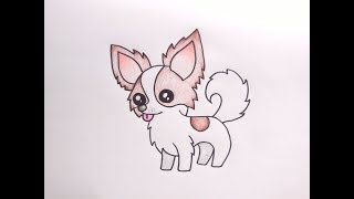 วาดรูปสุนัข ชิวาว่า  How To Draw Cute Chihuahua Dog Cartoon Easy for Kids Coloring Pages