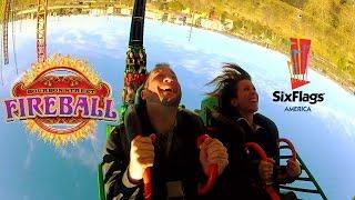Bourbon Street Fireball POV HD B-Roll Six Flags America Looping Steel Roller Coaster Washington