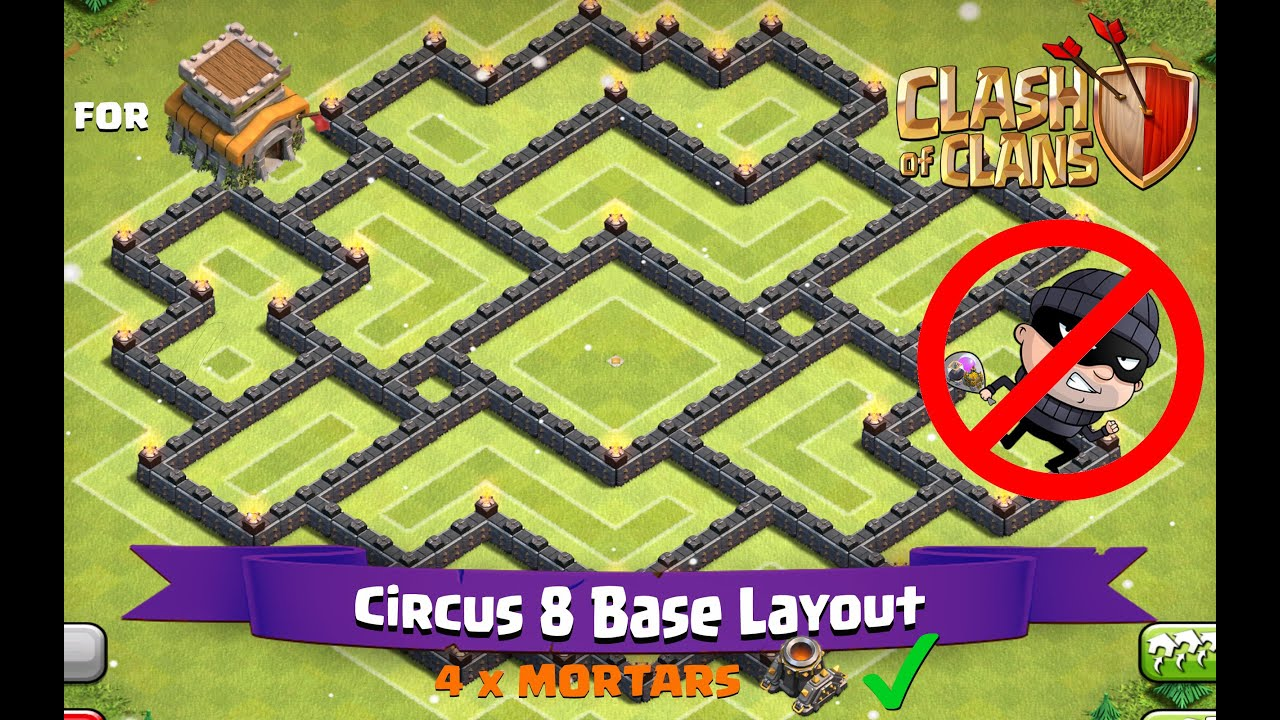 Clash of clans th8 best farming base layout circus 8 youtube