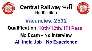 Central Railway Jobs 2021 - 10th/12th Pass + ITI | Central Railway Apprentice Recruitment 2021