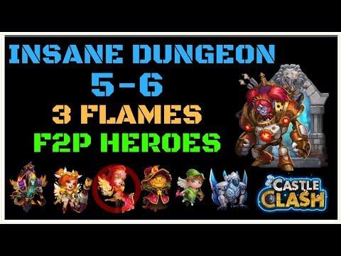INSANE DUNGEON 5-6 - 3 FLAMES - F2P HEROES - NO NUB - MECHTESSA - CASTLE CLASH