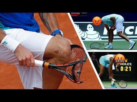 Angry tennis players smashing rackets!!!