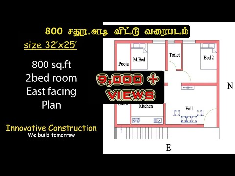 800 Sq.ft | 32 X 25 | 2bhk | East Facing | House Plan
