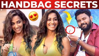 Actress Sanjana Singh's Handbag Secrets Revealed By VJ Ashiq | What's Inside The Handbag?