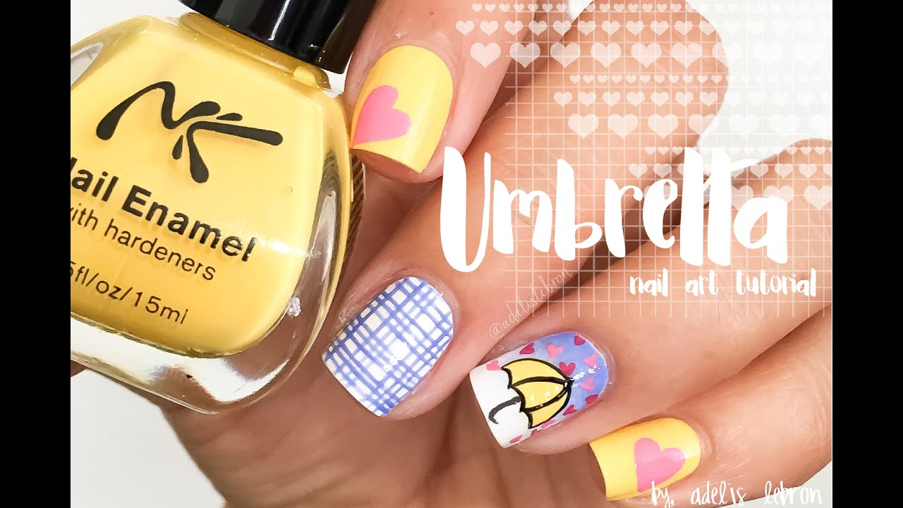 Umbrella Nail Art Tutorial - YouTube