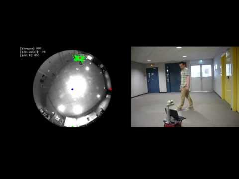 Moving object detection, tracking and following using an omnidirectional camera on a mobile robot