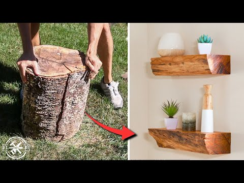 Turning an Old Log into Floating Shelves | DIY Woodworking