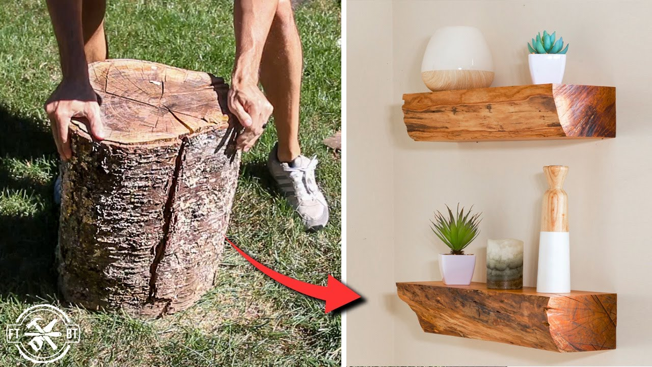How To Turn Firewood Into Diy Floating Shelves