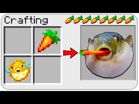 HOW TO CRAFT A PufferFish In Minecraft? MEME SECRET RECIPE *OVERPOWERED*
