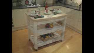 Shabby Chic Butchers Block Style Kitchen Island Table