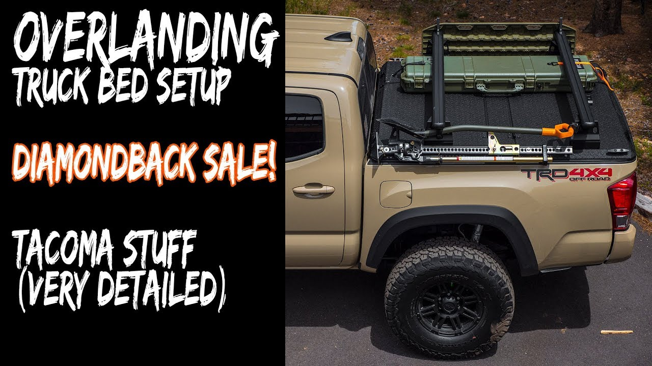 Truck Bed Cargo Net >> Overland Truck Bed Setup / Diamondback Discount (very long / detailed Tacoma setup) - YouTube