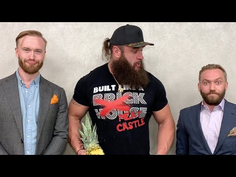 Braun Strowman bites into a whole pineapple