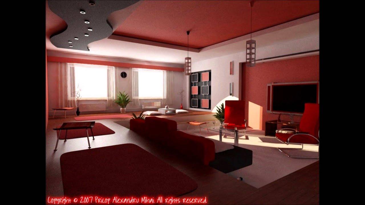 Black & Red Living Room Design Ideas - YouTube