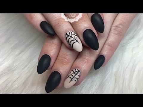 Halloween Matte Gel Nails/Spider Web/Madam Glam Polish