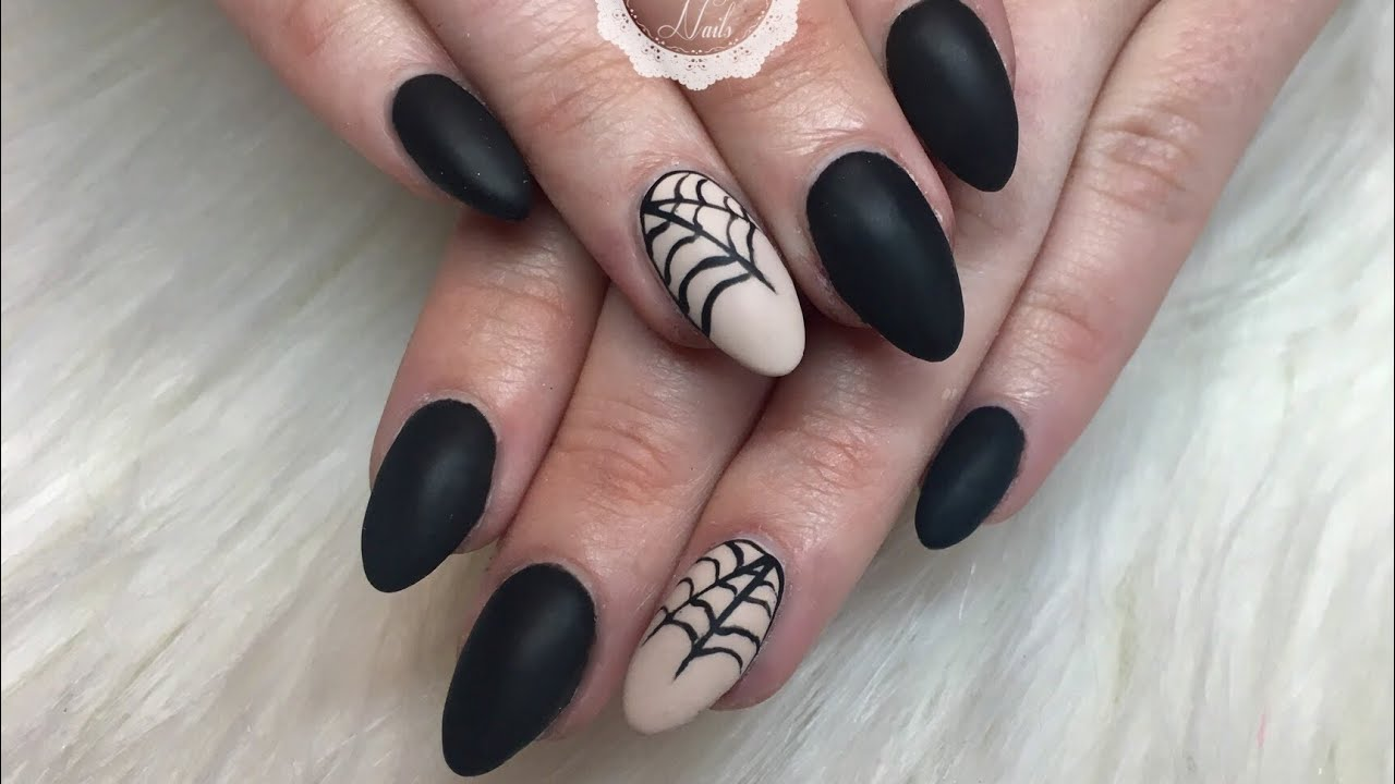 Halloween Matte Gel Nails/Spider Web/Madam Glam Polish ...