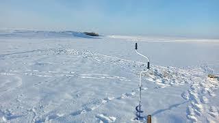 зимняя рыбалка на реке Нура