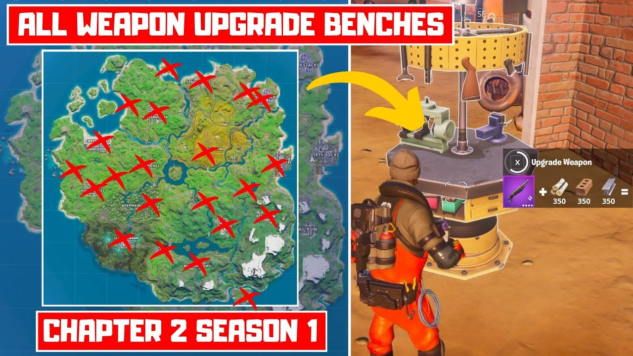 Upgrade An Item At A Weapon Upgrade Bench All Weapon Upgrade Bench Locations Fortnite Chapter 2