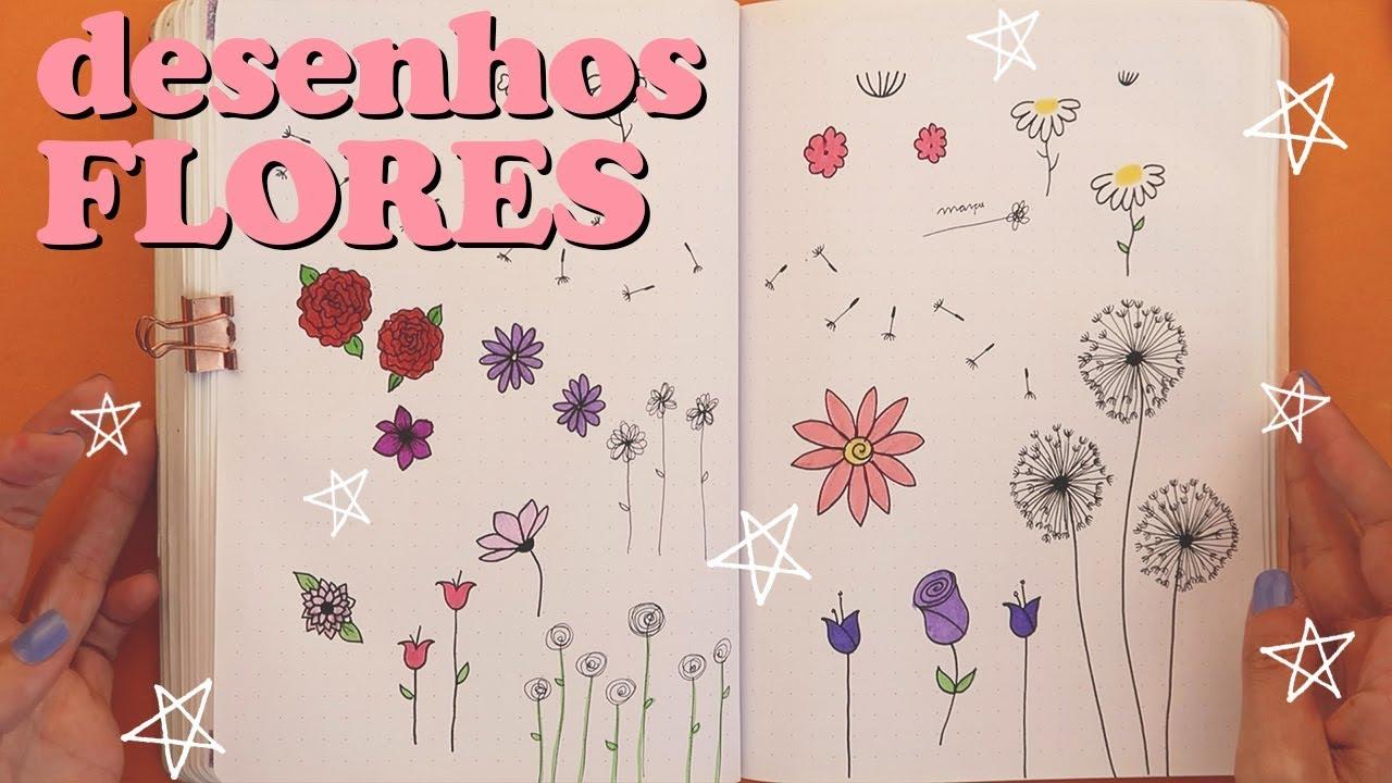 Como Desenhar Flores Para Bullet Journal Youtube