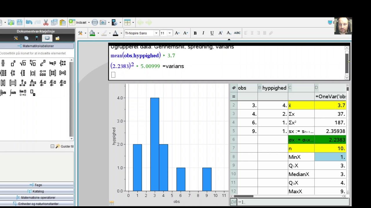 Gennemsnit, spredning, varians for ugrupperet data i Nspire