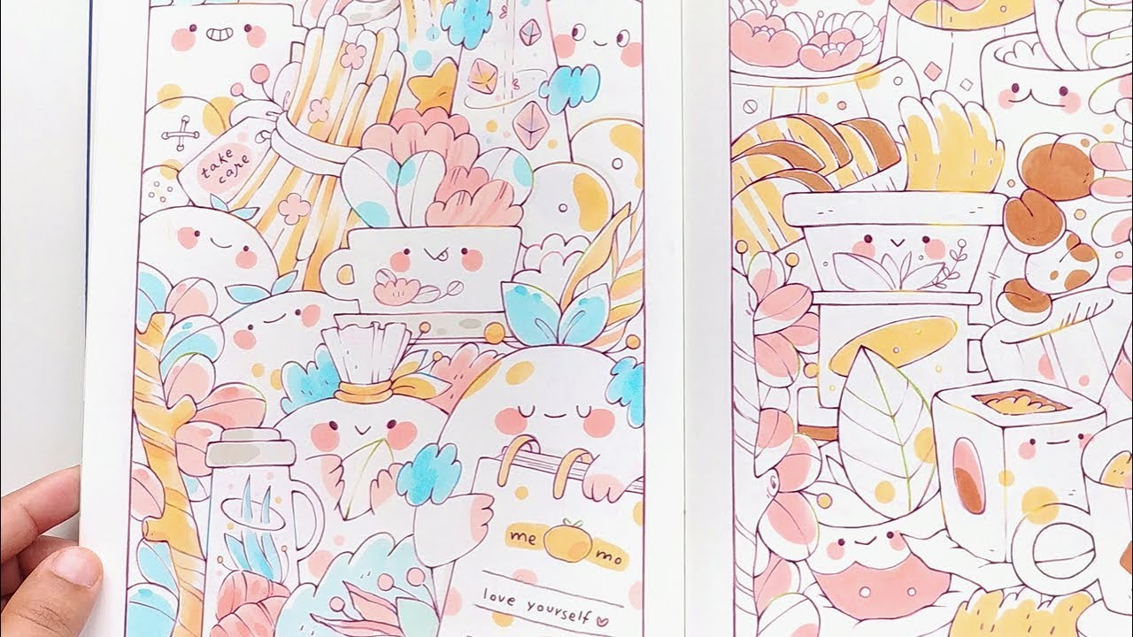 100 Cute Doodles | 100 Coloring Pages Sketchbook Flip Through