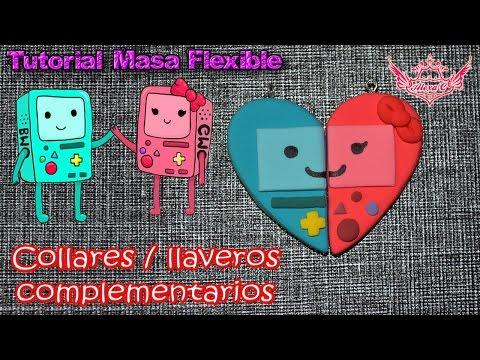 ♥ Tutorial: Collares/llaveros complementarios de BMO y GMO de Masa Flexible ♥