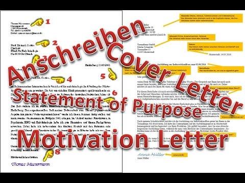 Cover Letter Motivation Letter Statement Of Purpose Deutsch Anschreiben