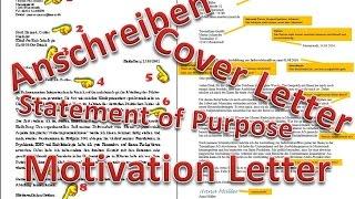 Cover Letter / Motivation Letter / Statement of Purpose (Deutsch: Anschreiben)