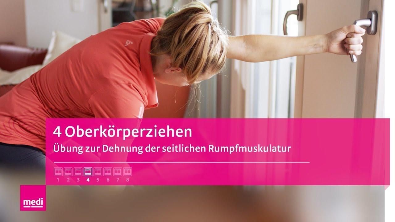 Dehnungsübung 4 - Oberkörperziehen: Übung zur Dehnung der seitlichen ...