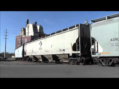 CRANDIC pulling ADM grain cars from the CN yard Downtown Cedar Rapids,IA