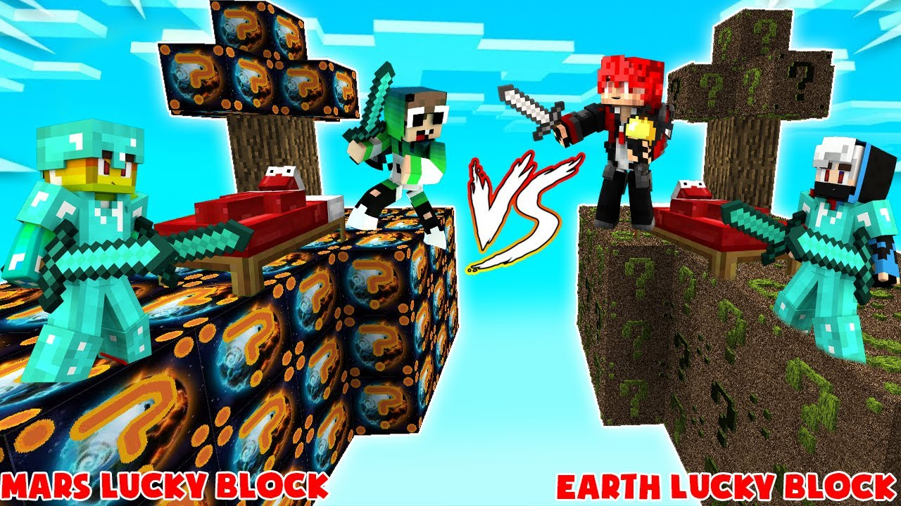 MINI GAME : EARTH VS MARS LUCKY BLOCK BEDWARS ** NGƯỜI SAO HỎA VÀ NGƯỜI TRÁI ĐẤT CHIẾN ĐẤU ??