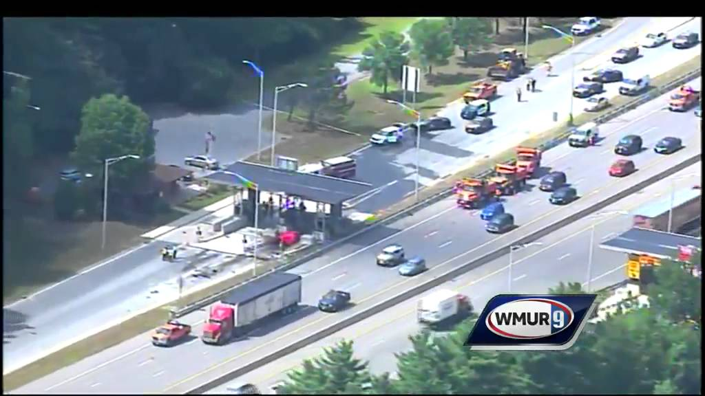 Raw aerial video: Toll booth crash on Everett Turnpike