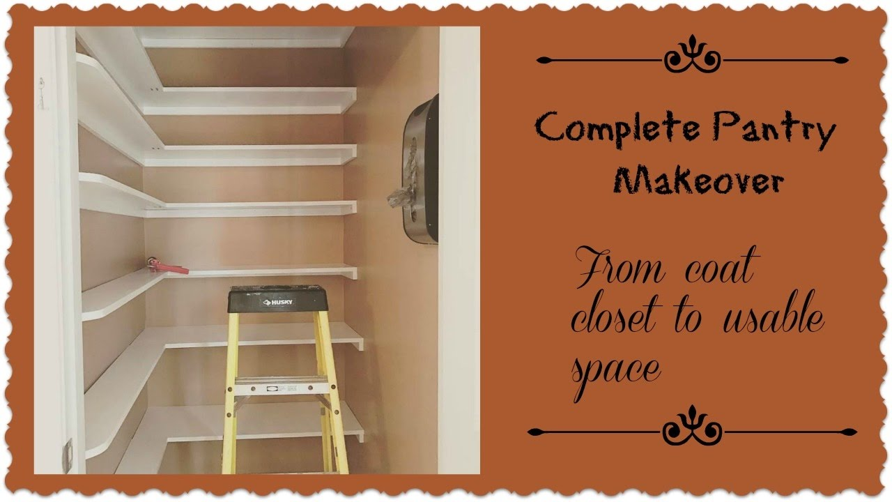 Closet Pantry Complete Pantry Room Makeover From Coat Closet To Functional Storage Space