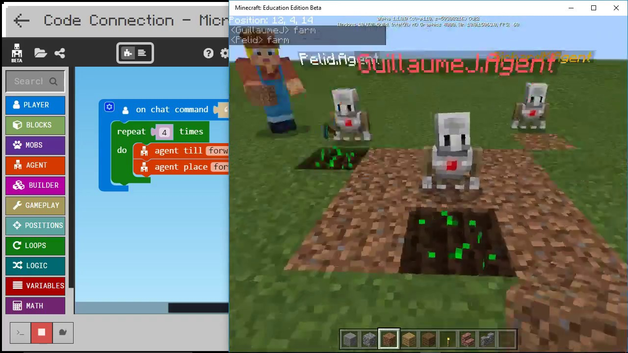 Farming with the agent MakeCode for Minecraft Code Builder