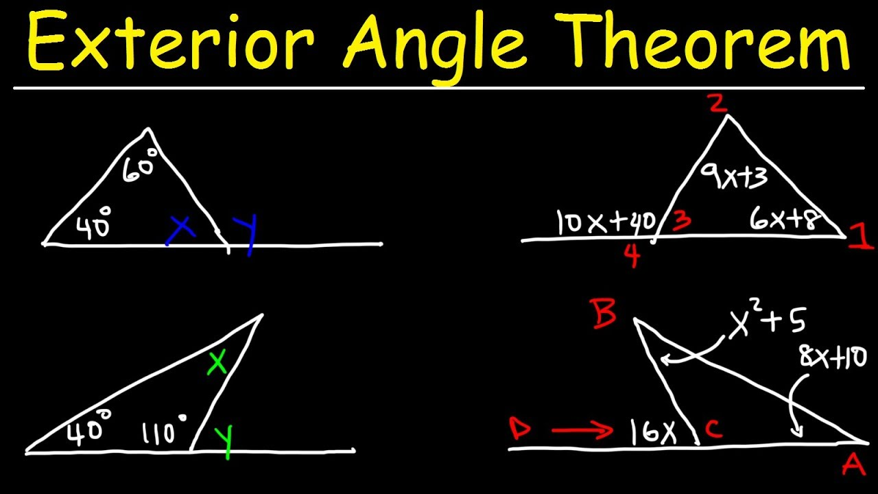 Exterior Angle Theorem For Triangles Practice Problems