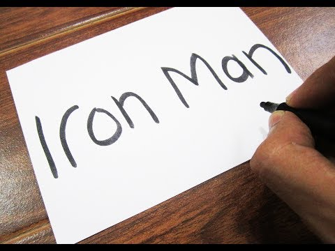How to turn words IRON MAN into a Cartoon ! Learn drawing art on paper for kids