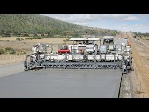 Extreme Fast Concrete Paving Machine Working - World Amazing Modern Road Construction Machines
