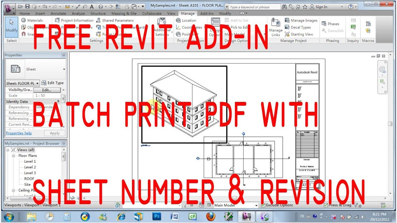 free revit add in print pdf with sheet number and revision youtube