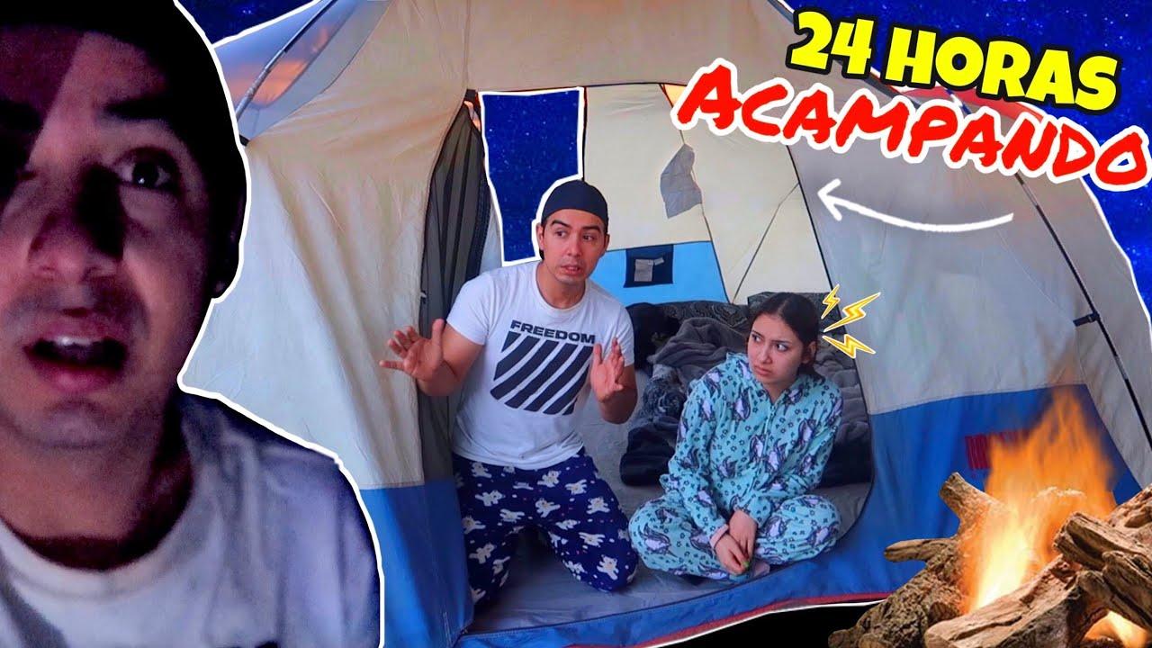 Acampando con mi Novia en el Bosque por 24 Horas!! Nos Asustaron a las 3AM 😱
