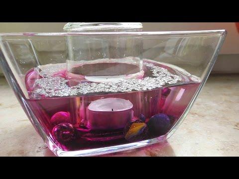 Zimmer Deko aus Glas   Tischdeko mit Kerzen & Wasser   Super einfach in Pink & Glitzer