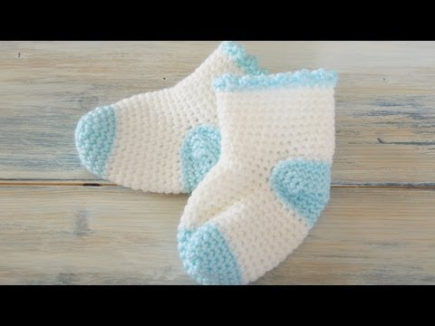 (Crochet) How To - Crochet Baby Sock Booties 0-3m