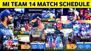 IPL 2020 : Mumbai Indians All 14 Match Schedule    MI ALL 14 MATCH SCHEDULE 2020