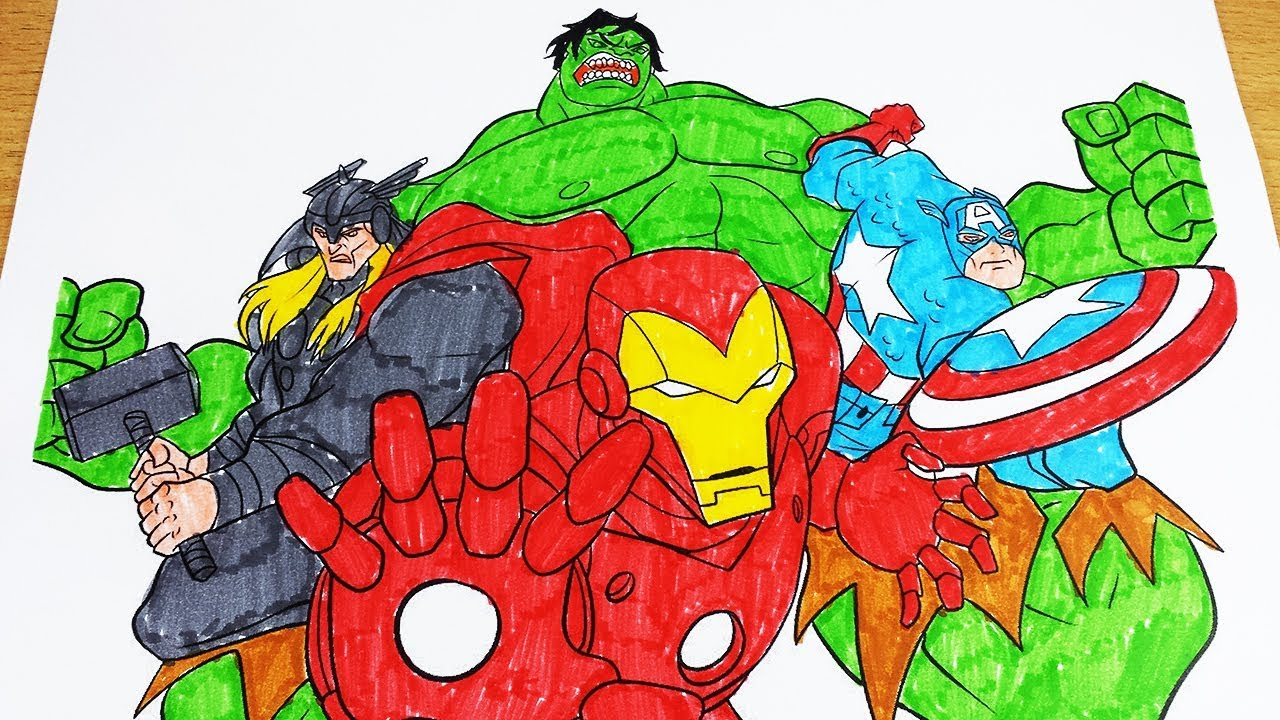 Coloring Pages Avengers Ironman Thor Hulk Captain America Coloring