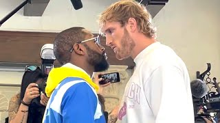 FLOYD MAYWEATHER STEPS TO LOGAN PAUL DURING FACE TO FACE AT FINAL PRESS CONFERENCE