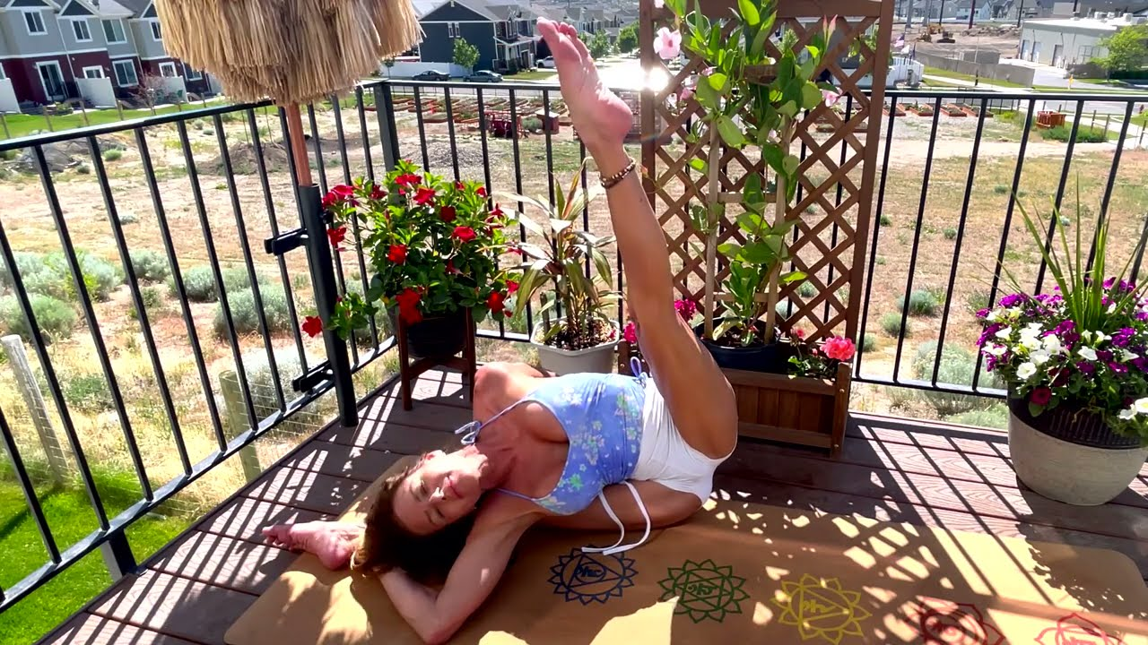 Splits Variations, Yoga, and Stretching on my Patio with Penelope