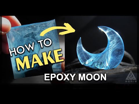 How to make Magic Epoxy Hybrid Moon Crescent pendant tutorial (speed version)