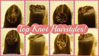 4 Cute Top Knot Hairstyles, Half Up Bun Tutorials