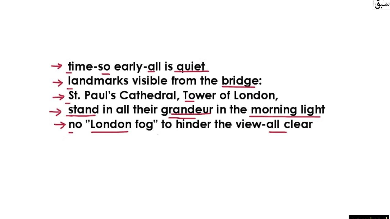 westminster bridge poem summary