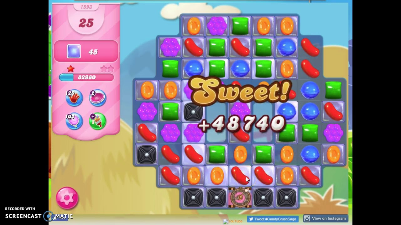 Download Candy Crush Level 1593 Audio Talkthrough, 1 Star 0 Boosters